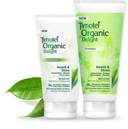 Řada Timotei Zdraví a lesk obsahuje šampon a kondicionér pro normální vlasy. Poskytuje pružnost, hydrataci a přirozený vzhled vašim vlasům. s výtažky zeleného čaje, ekologické složky známé pro své ctnosti revitalizaci a osvěžení, zanechá vaše vlasy hydratované, přirozeně lesklé a hebké. Pyramida vůní kombinuje citrusy a byliny, především citron, limetka a kardamon.
