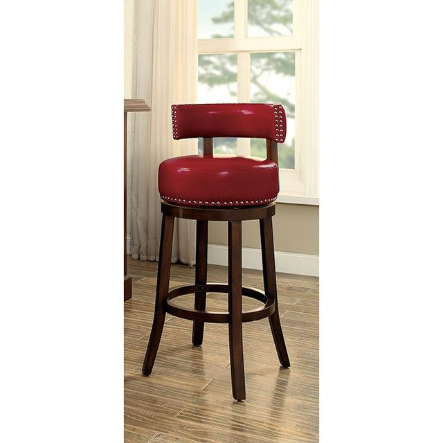 Cm Br6251 24 Rd Set Of 2 Shirley Red Faux Leather And Dark Oak Finish Wood Counter Height Bar Stools Swivel Bar Stools Contemporary Bar Stools Bar Stools