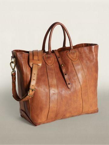 Vintage Brown Leather Tote   Ralph Lauren