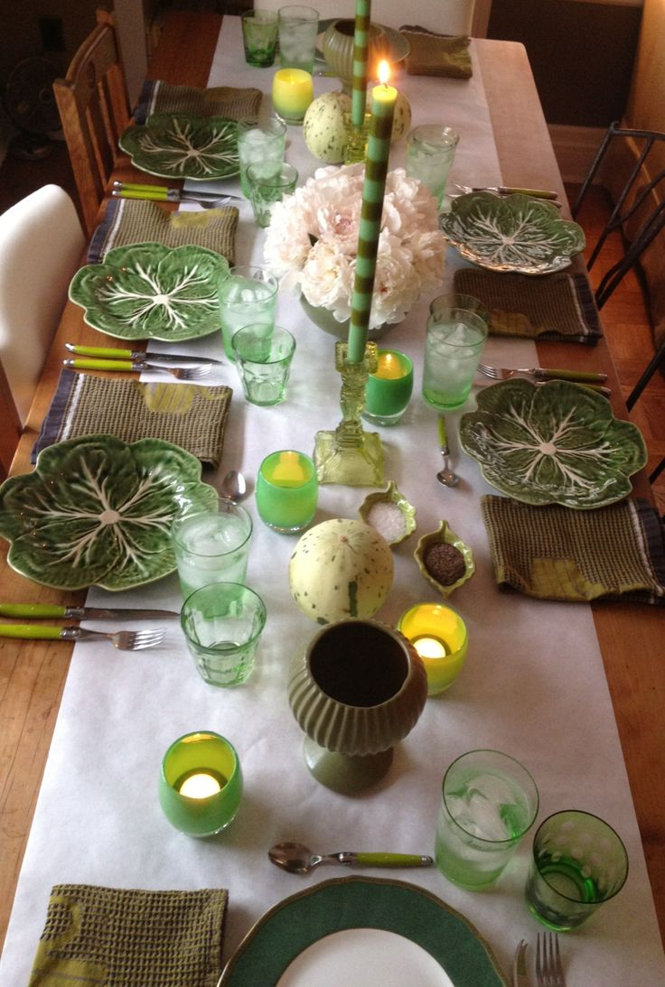Tablescape from Ted Kennedy Watson's blog. Love the green tonality and white butcher paper used as a table runner.: Green Table, Deeper Color, Ceramic, Tone On Tone Color, Green Tonality, Shades Of Green, Green Glassybaby