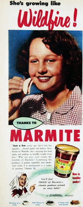 Marmite advert from 1955 ' She's growing like wildfire !