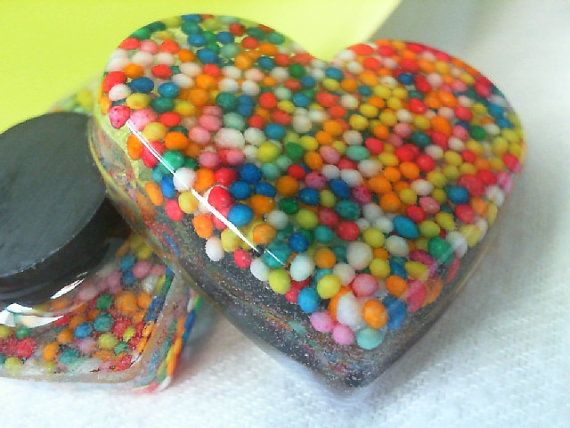 Candy Sprinkles Resin Heart magnets by CreativeHolmez on Etsy