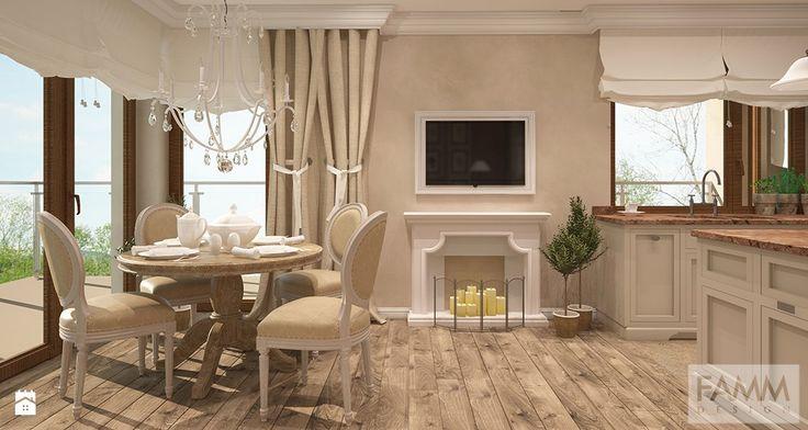 przestrzeń dzienna - połączenie kuchni, jadalni z salonem - zdjęcie od FAMM DESIGN - Jadalnia - Styl Prowansalski - FAMM DESIGN