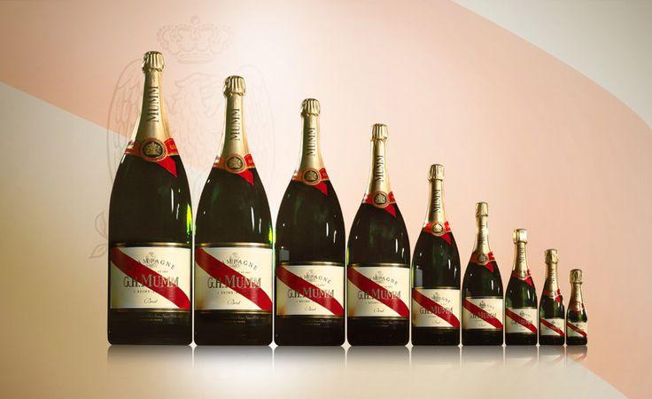 GH Mumm champagne, from large to small. Left to right: Nebuchadnezzar, Balthazar, Samlanazar, Methusaleh, Rehoboam, Jeroboam, Magnum, 750ml, half