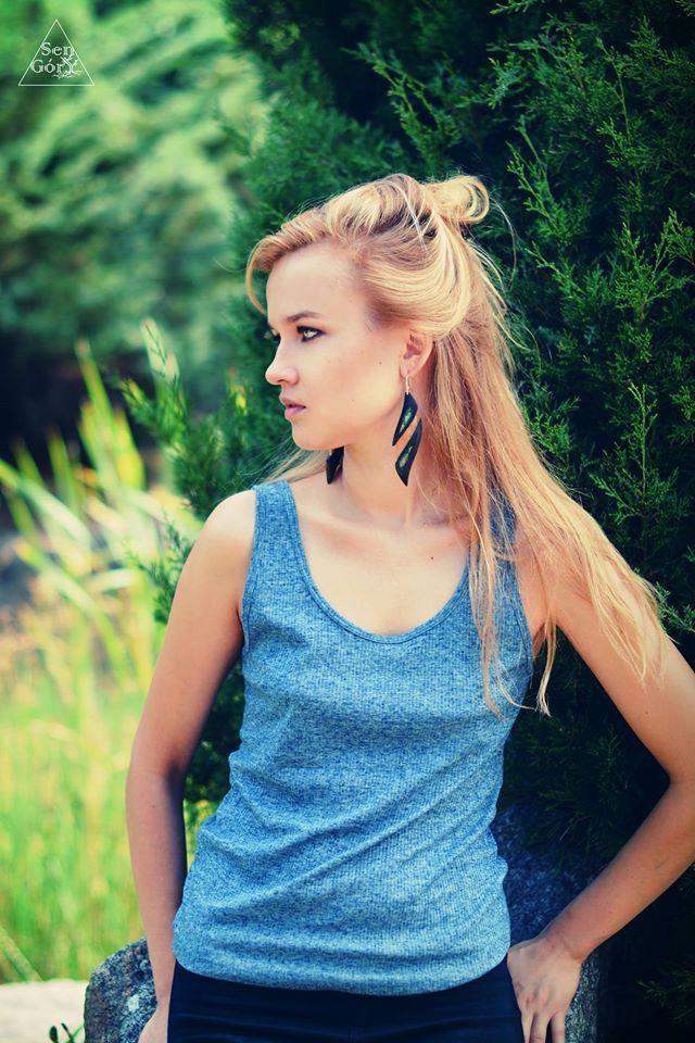 Young, Polish actress Karolina Krawczyńska in our boho THUJA earrings. #bohojewelry #SenGory #statementjewelry
