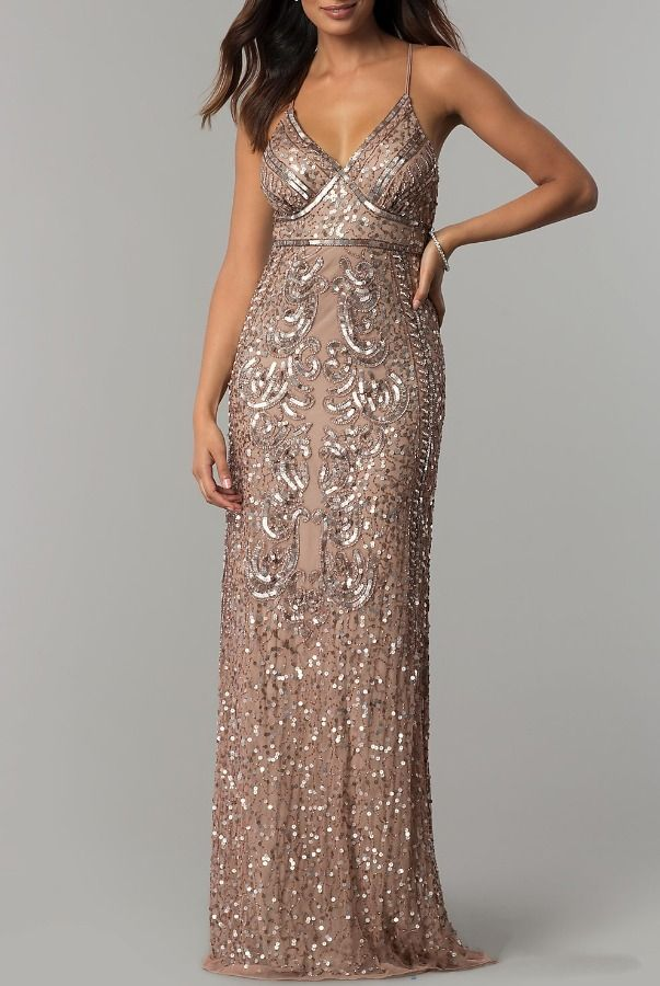 e0bfcbd3034ba Marina Rose Gold Taupe Art Deco Beaded Gown | Poshare This Marina long prom  dress is flattering and elegant! Swirling patterns of shimmering sequins ...