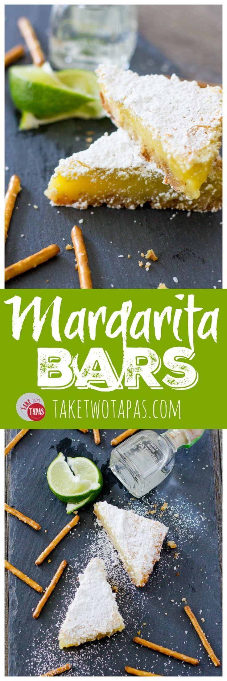 My favorite cocktail is now a dessert bar. Margarita Bars have a creamy and tart lime filling complete with a splash of tequila that sits atop a shortbread salty pretzel crust. A crispy top dusted with powdered sugar finishes off of this amazing dessert.