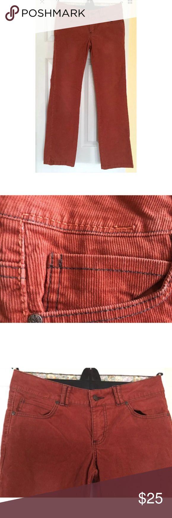 Prana Canyon Cord Pants Rust Orange PrAna Canyon Cord pants  98% organic cotton, 2% spandex  Rust  5-pocket jeans styling  Floral fabric-lined waist    Size 0 Prana Pants
