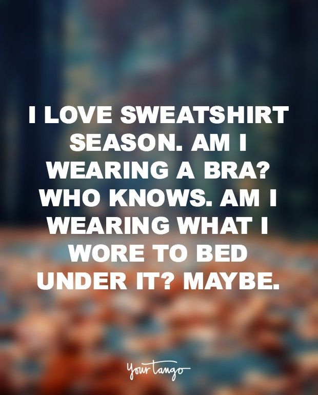 I love sweatshirt season. Am I wearing a bra? Who knows? Am I wearing what I wore to bed under it? Maybe.