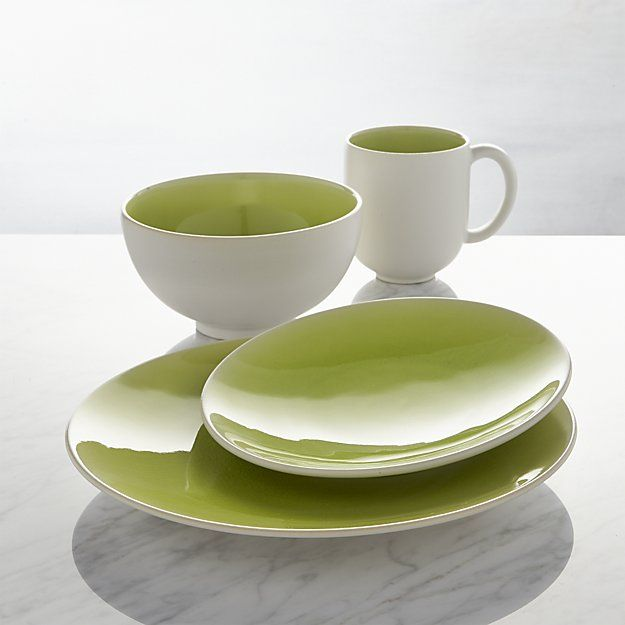 Jars Tourron Green 4-Piece Place Setting | Crate and Barrel