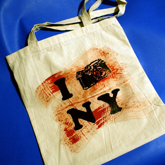 I photograph New York  silkscreened cotton tote with by AstrOdub
