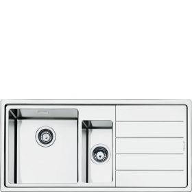 LFT102D | Smeg DE I Einbauspüle Edelstahl 2 Becken 101 x 51 cm