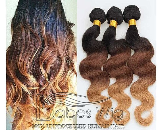 100% Real Human Hair Weft Hair Extensions Full Set 3 Color 1B/4/27 Ombre Hair Extensions //8A Grade Human Hair//Virgin Remy Hair Weaving