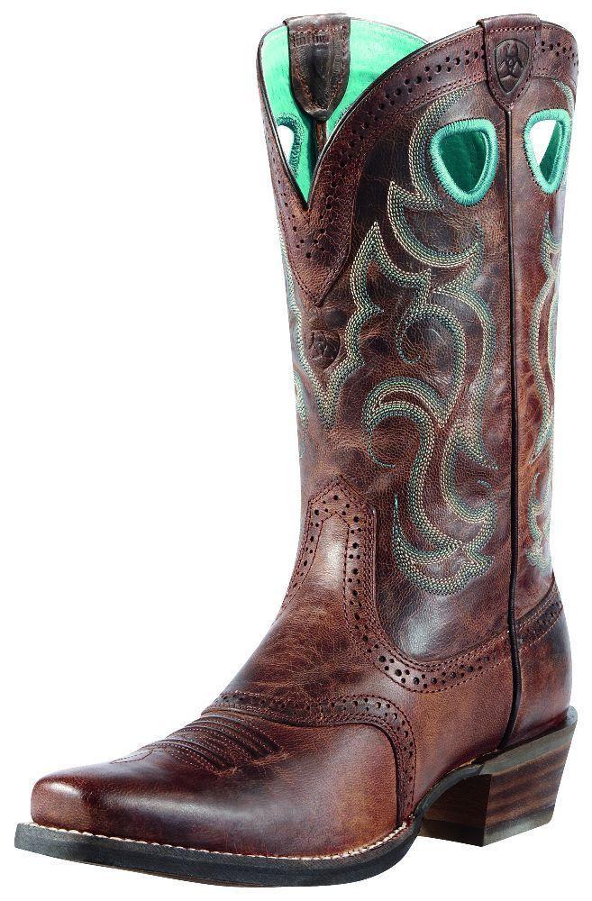 Ariat Western Boots Womens Cowboy Rawhide 7.5 B Sassy Brown 10010936 #Ariat #CowboyWestern