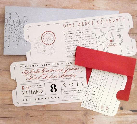 Vintage Ticket  Wedding Invitation by LetterBoxInk on Etsy, $4.50