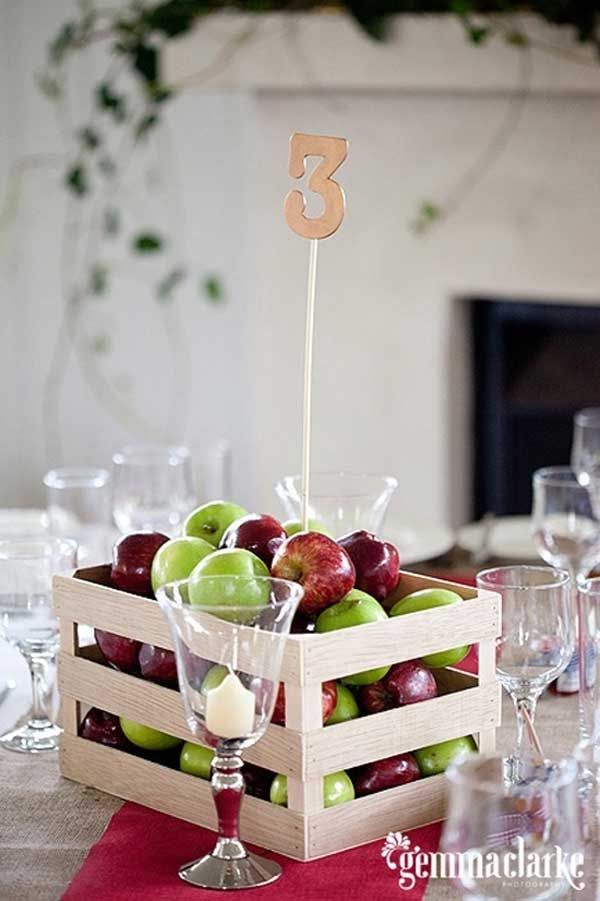 Eco friendly apple basket wedding centerpieces that double as snack/dessert or favors