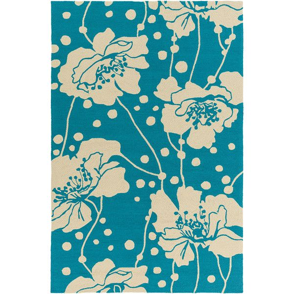 Thos. Baker Bondi Beach Floral Rug (Aqua) ($1,303) ❤ liked on Polyvore featuring home, rugs, tropical area rugs, aqua rug, flora rug, polypropylene area rugs and blue green area rug