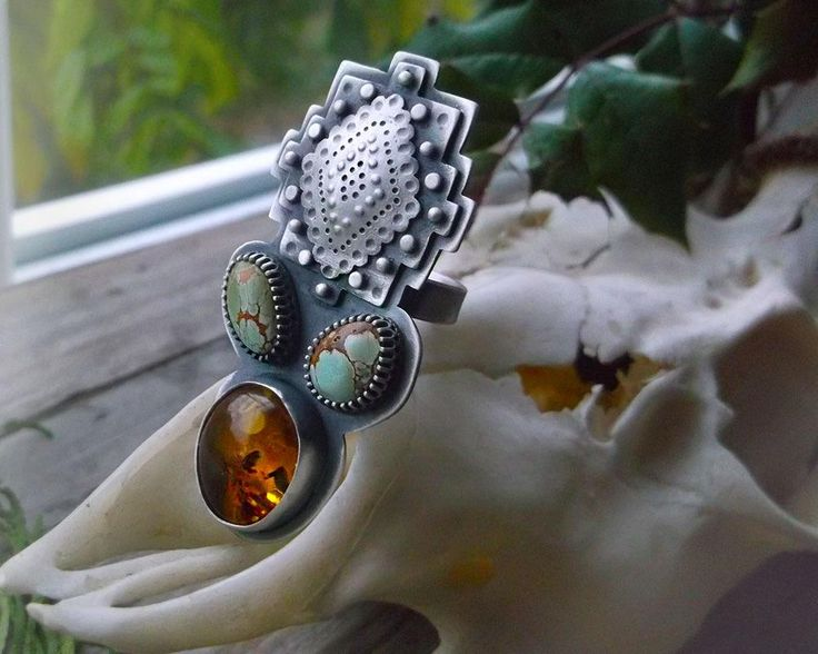 Aztec Ring - Baltic Amber and Royston Turquoise Ring