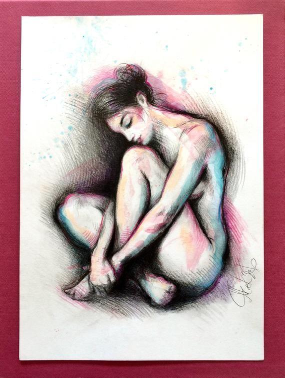 ORIGINAL Akt Bleistift Zeichnung  sitzend,Bild Frau, artistic nude, gesture pencil drawing,weibliche Figur, bathroom bedroom decor, wall art