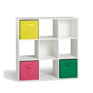 Meuble de rangement cube  3X3 cases COMPO en panneau de particules  Epaisseur - 12mm fintion revetue papier - Coloris : Blanc - Dimensions : 91x29.5 cm - H