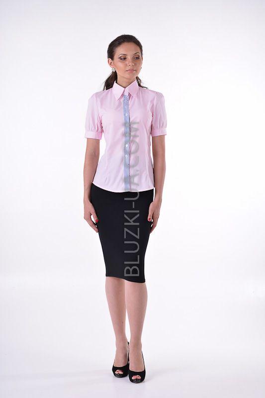 Батистовая летняя розовая блузка для офиса с рукавом фонарик и полосатой планкой по линии пуговиц, купить онлайн. Интернет-магазин БЛУЗКИ UA, Украина - женская одежда и женские блузы.