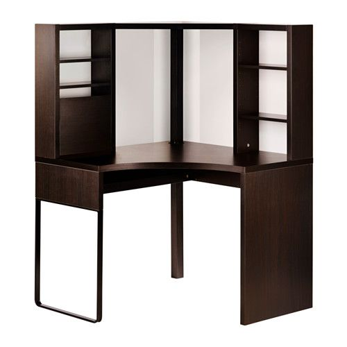 MICKE Corner workstation, black-brown black-brown 39 3/8x55 1/2