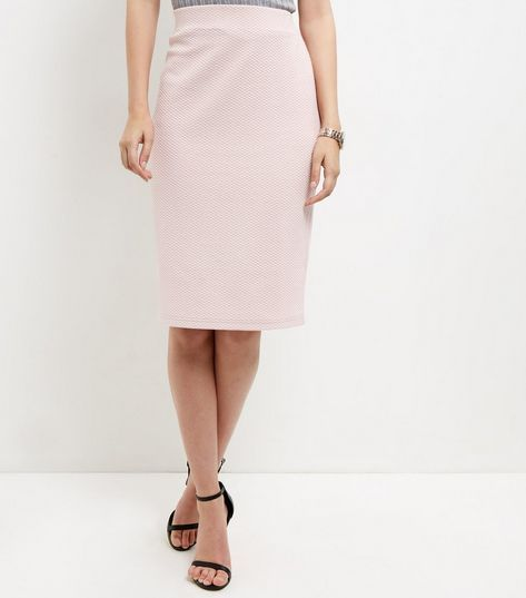 Shell Pink Textured Pencil Skirt  | New Look
