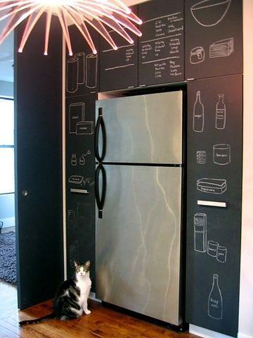 Cozinha revestida com a textura de quadro negro
