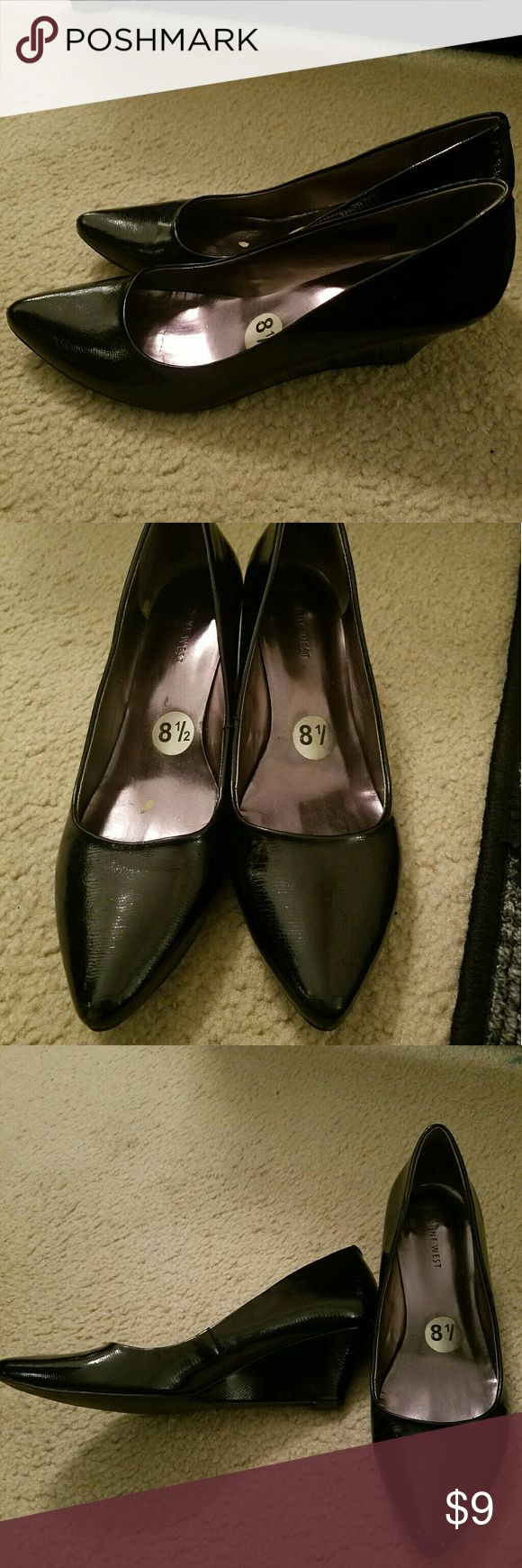 Nine west pointed wedge black 8.5 Gently worn, has lot of life left. Perfect shine and condition. No visible imperfections Nine West Shoes Wedges