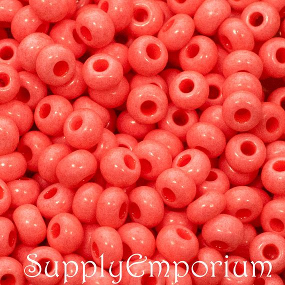 Coral Opaque Preciosa Sol Gel 6/0 Seed Bead - 4110 - Washable Coral Opaque 6/0 Seed Bead - 15 Grams