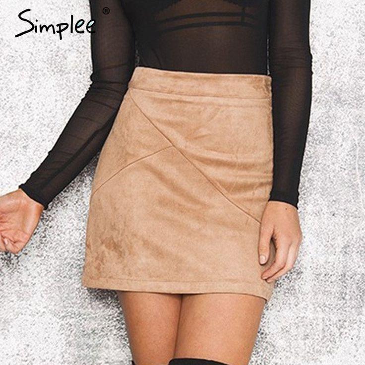 Simplee Autumn vintage leather suede pencil skirt winter 2016 Cross high waist skirt Zipper split bodycon short skirts womens