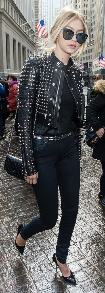 Gigi Hadid fashion week street style: studded leather jacket, mirrored sunglasses and Chanel purse