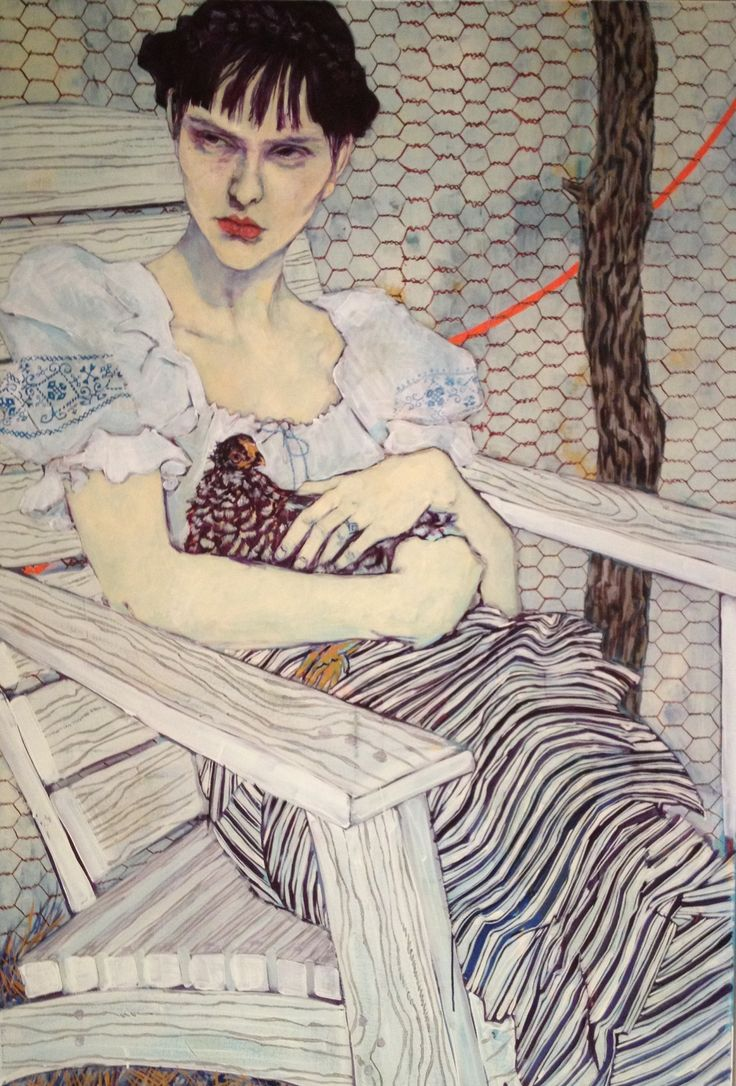 Artist: Hope Gangloff 'Study of Olga Alexandrovskaya' (2012) //I am particularly fond of the use of blue and purple to create shadows on Olga's body, which is a reoccurring theme in the work of Hope Gangloff. The subject of the portrait is boldly drawn, contrasting with the delicate shading of the clothing, bench and backdrop. Interesting patterns.//
