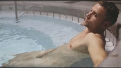 Wolfgang (Max Riemelt) enjoys a relaxing nude soak, from Episode 6 of Netflix series Sense8 (animated gif)