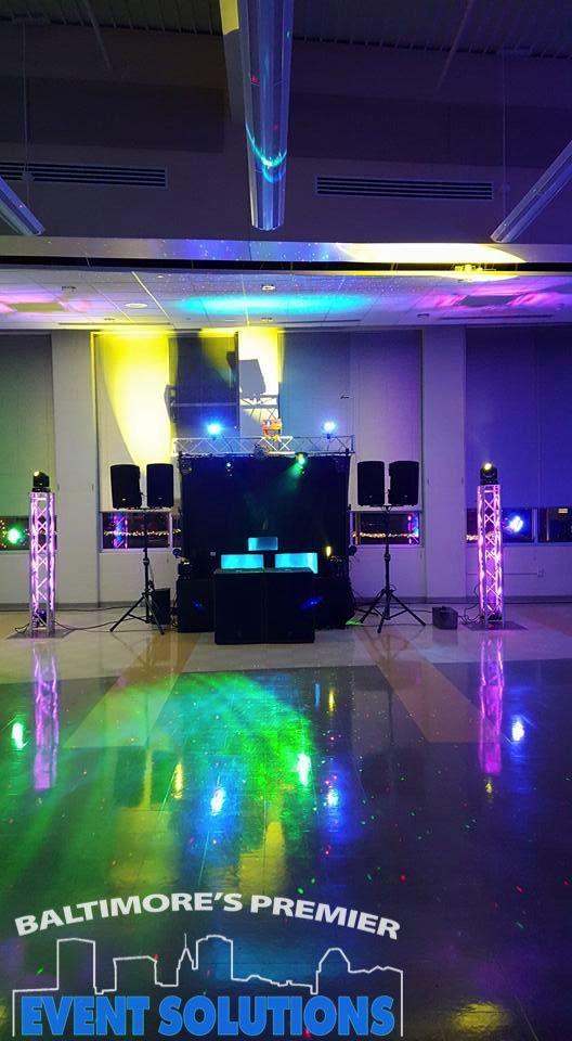 DJ setup for a school dance with lighting