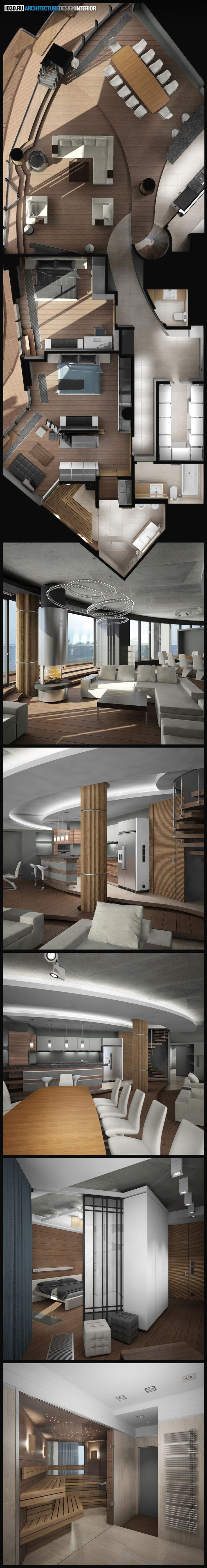 интерьер жилых апартаментов, современный стиль, бетонный потолок, камин Fugar Diora, светильники slv, quasar, стол draenert, стулья rolf benz