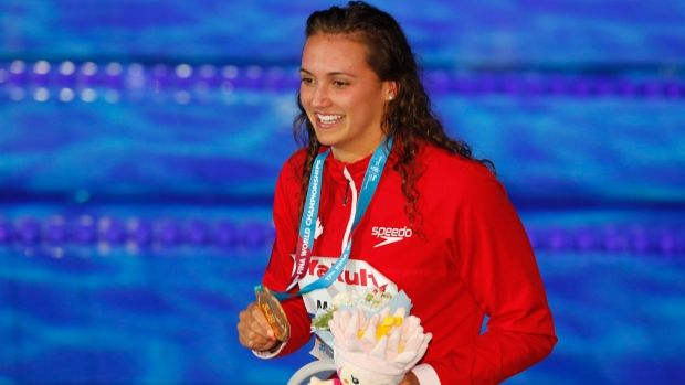July 24 2017 - Canadian Masse sets 100M backstroke record Kylie Masse Canadian swimmer Kylie Masse has won gold in the women's 100-metre backstroke with a word-record time of 58.10 seconds at the world swimming championships Kylie Masse, The Canadian Press