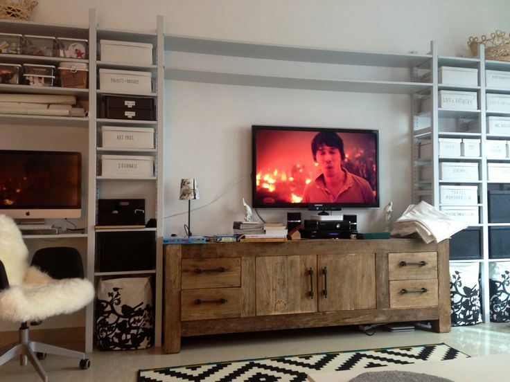 IKEA Ivar Shelving Tv StorageEntertainment WallIkea IdeasDecor IdeasIkea HackStorage SolutionsOffice IdeasBookshelvesLiving Room