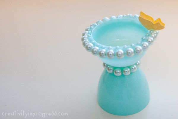 """Cute idea to go with the """"fairy house"""" a bird bath, made out of plastic easter eggs! too cute!"""