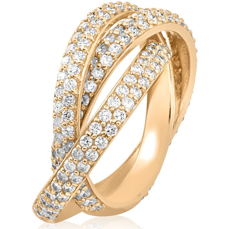 Bliss 14k Yellow Gold 2 5/8 ct TW Diamond Eco Friendly Lab Grown Pave Rolling Ring Eternity 3 Bands