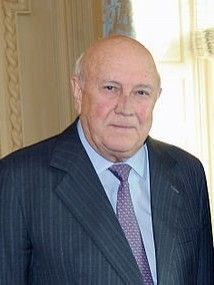 FW de Klerk is a Nobel Peace Prize winner along with Nelson Mandela for peacefully transitioning South Africa into a democratic country.