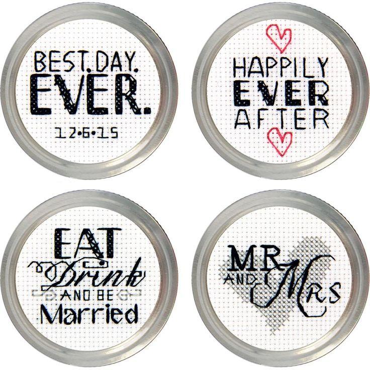 Wedding Jar Topper Counted Cross Stitch Kit-Set Of 4