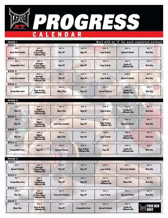 "Tapout workout calendar. Mark with an ""X"" for each completed workout."