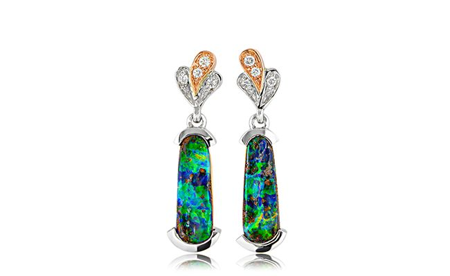 NATURAL BEAUTIES!  A stunning pair of 18ct rose and white gold earrings with 2.93ct of free form boulder opal. An iridescent green, blue and brown opal makes for a spectacular sight. Also includes 8 round brilliant cut diamonds.  These truly unique earrings can be found at www.anthonys.com.au  #opals #diamonds #diamond #opal #earrings #gemstones #gold #rosegold #engagement #anniversary #jewellery #finejewellery #love #style #australianopal