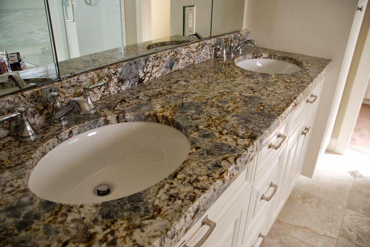 Terra Grey Blue Flower Granite Bathroom Vanity With