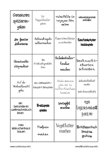 Last-minute Beschäftigungskalender mit Druckvorlage (auf Deutsch)