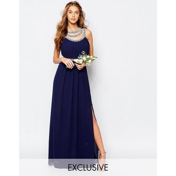 TFNC WEDDING Embellished Maxi Dress (63.365 CRC) ❤ liked on Polyvore featuring dresses, navy, chiffon dress, open back maxi dress, navy blue chiffon dress, pleated chiffon dress and navy blue maxi dress