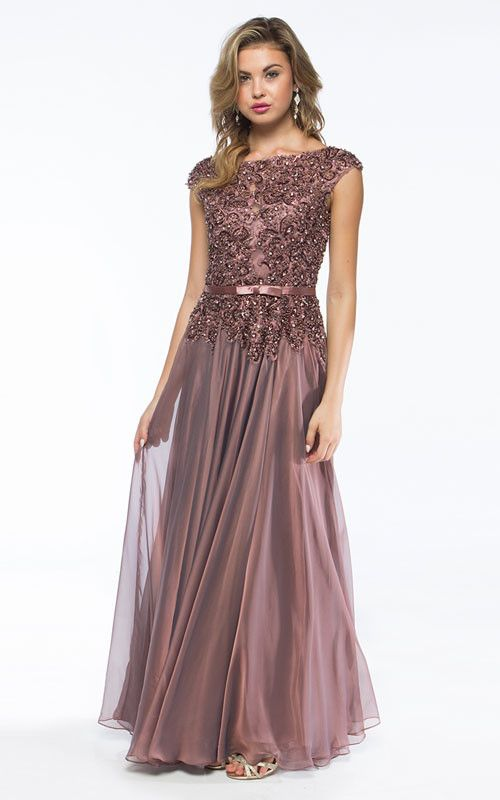 KC14115 Sequin Chiffon Mother of Bride Dress. Elegant cap sleeve evening gown with a sequin top, ribbon accent at the waist and chiffon skirt. Available in Twilight Rose, Silver or Royal Blue. - Mothe