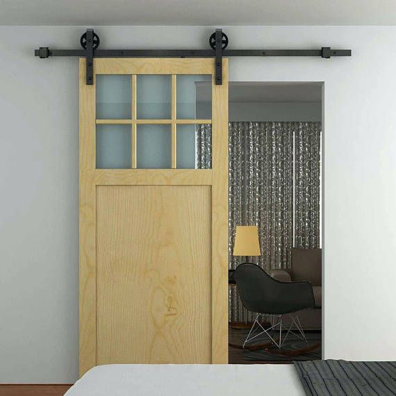 6 6 Ft Hk13 Sliding Barn Door Hardware Kit J Shape Hangers Big Industrial Wheel Barn Style Sliding Doors Barn Style Doors Barn Door