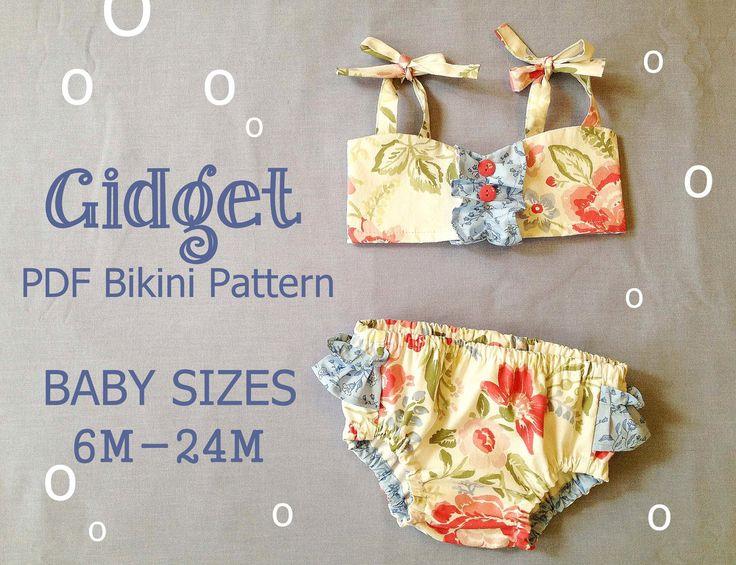 Gidget - Baby Bikini Sewing Pattern. Retro Swimsuit Pattern. Girl Sewing Pattern. Baby Sewing Pattern. Sizes 6m-24m. $7.95, via Etsy.
